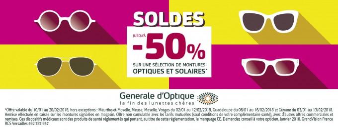 GENERALE D'OPTIQUE… Les soldes à partir du mercredi 10/01/2018
